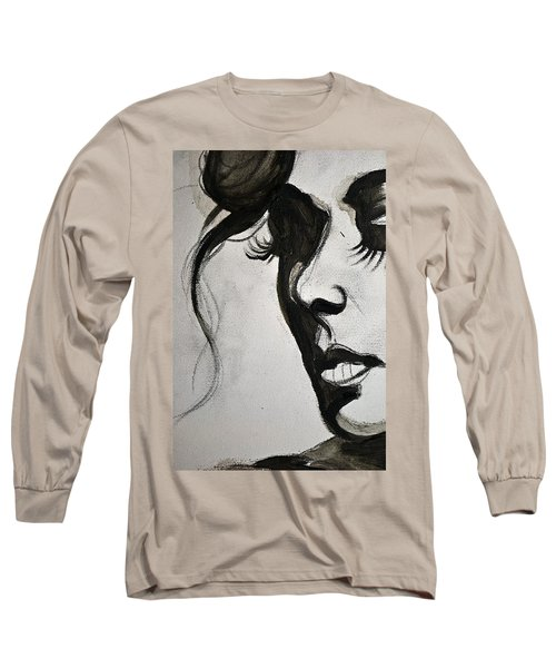 Black Portrait 16 Long Sleeve T-Shirt by Sandro Ramani