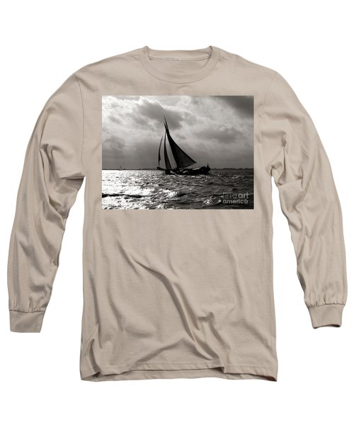 Long Sleeve T-Shirt featuring the photograph Black Sail Sunset by Luc Van de Steeg