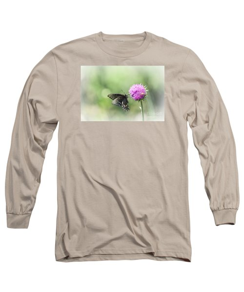 Black Swallowtail Dreaming Long Sleeve T-Shirt by Debbie Green
