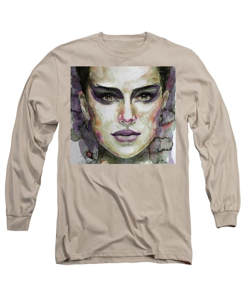 Long Sleeve T-Shirt featuring the painting Black Swan by Laur Iduc