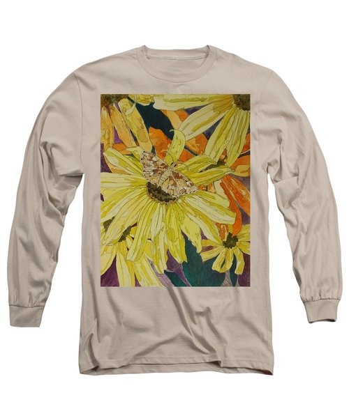Blackeyed Susans And Butterfly Long Sleeve T-Shirt