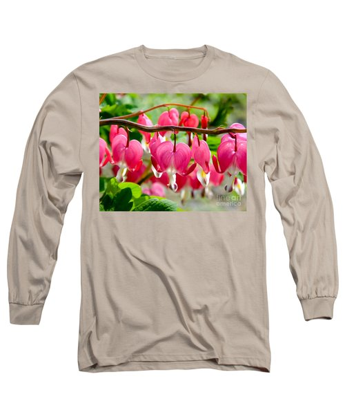 Bleeding Heart Flowers Long Sleeve T-Shirt