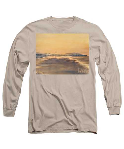 Long Sleeve T-Shirt featuring the painting Blue Anchor Sunset by Martin Howard