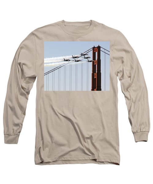 Blue Angels And The Bridge Long Sleeve T-Shirt by Bill Gallagher