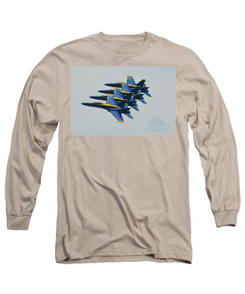 Long Sleeve T-Shirt featuring the photograph Blue Angels Practice Echelon Formation by Jeff at JSJ Photography