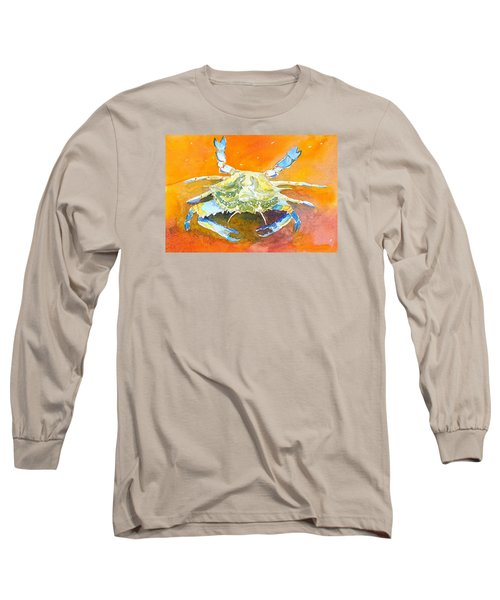 Blue Crab Long Sleeve T-Shirt by Anne Marie Brown