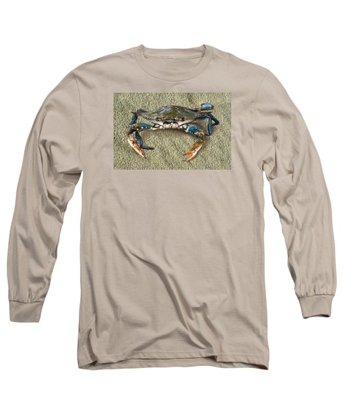 Blue Crab Confrontation Long Sleeve T-Shirt by Sandi OReilly