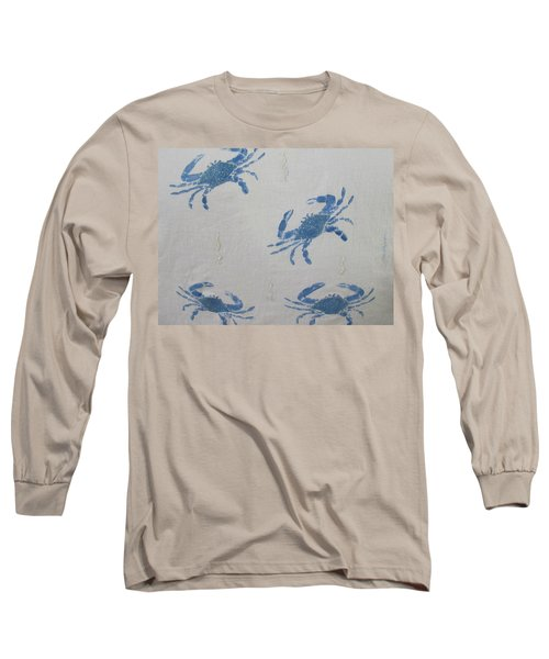 Blue Crabs On Sand Long Sleeve T-Shirt