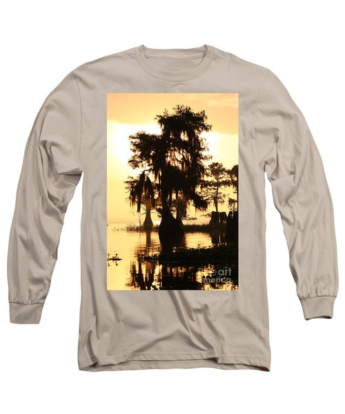 Blue Cypress Yellow Light Long Sleeve T-Shirt by Paul Rebmann