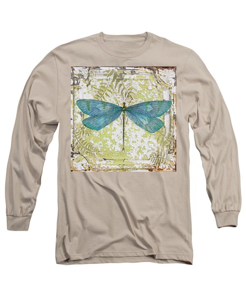 Blue Dragonfly On Vintage Tin Long Sleeve T-Shirt by Jean Plout