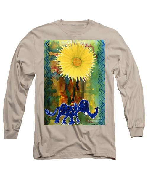 Blue Elephant In The Rainforest Long Sleeve T-Shirt by Mukta Gupta