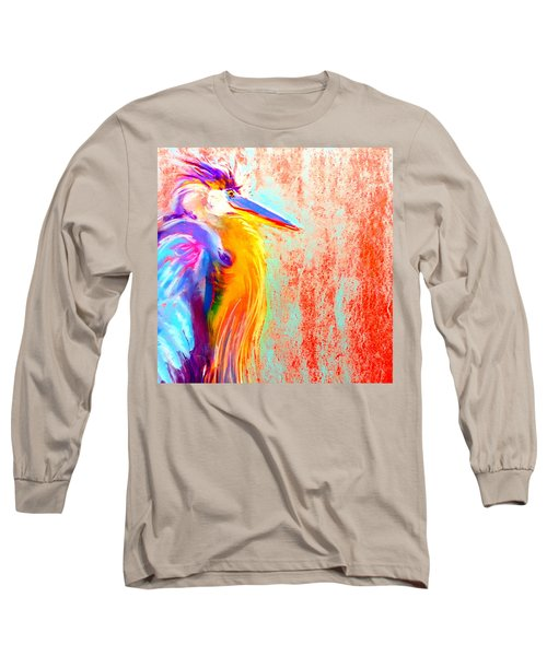 Funky Blue Heron Bird Long Sleeve T-Shirt