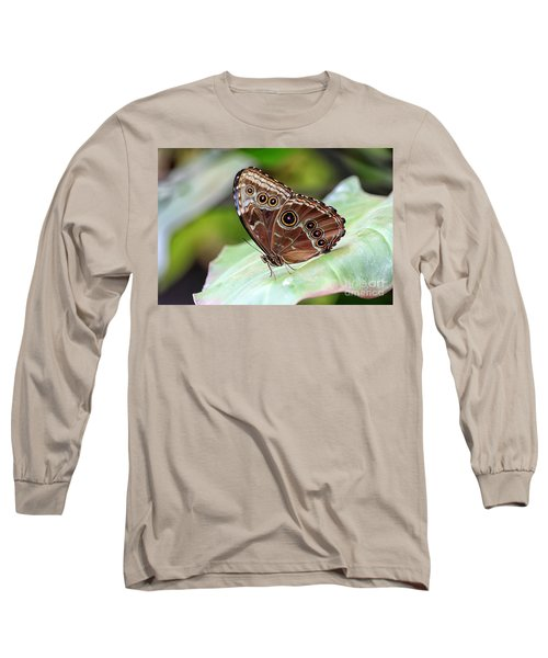 Blue Morpho Butterfly Long Sleeve T-Shirt by Teresa Zieba