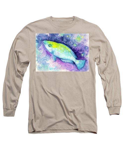 Blue Parrotfish Long Sleeve T-Shirt by Ashley Kujan