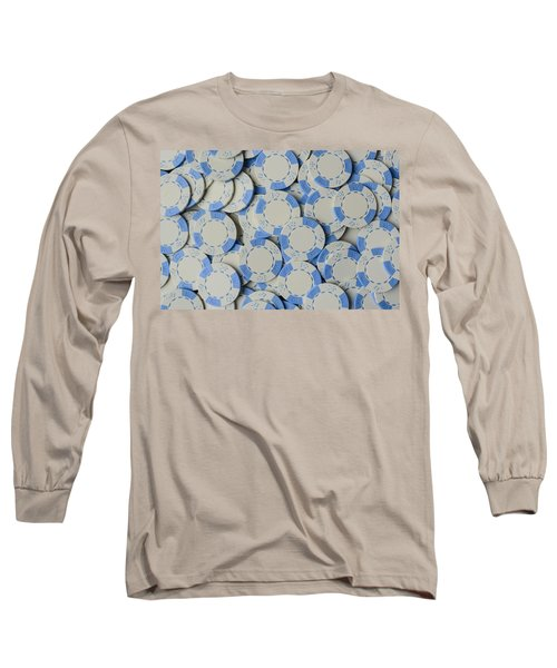 Blue Poker Chip Background Long Sleeve T-Shirt