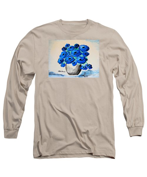 Long Sleeve T-Shirt featuring the painting Blue Poppies by Ramona Matei