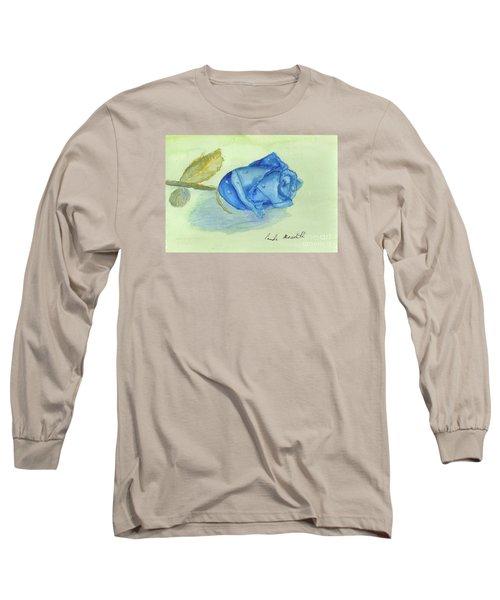 Blue Rose Long Sleeve T-Shirt by Pamela  Meredith
