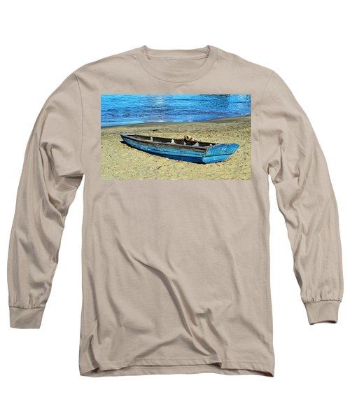 Blue Rowboat Long Sleeve T-Shirt by Holly Blunkall