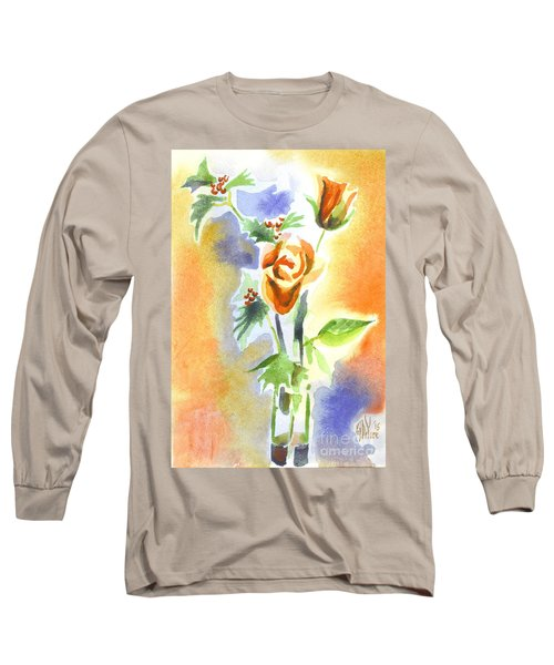 Long Sleeve T-Shirt featuring the painting Blue With Redy Roses And Holly by Kip DeVore