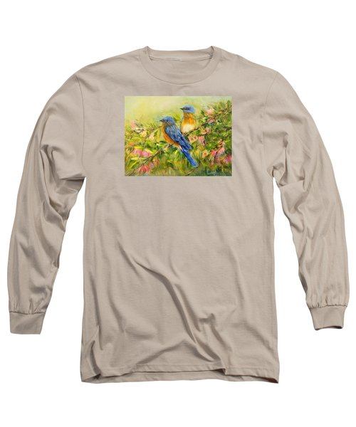 Bluebirds Long Sleeve T-Shirt by Loretta Luglio