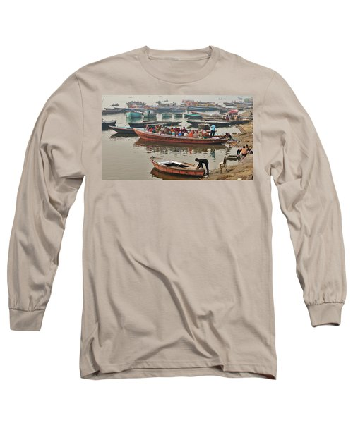 Long Sleeve T-Shirt featuring the photograph The Journey - Varanasi India by Kim Bemis