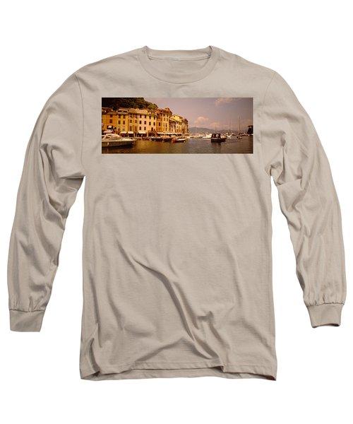 Boats In A Canal, Portofino, Italy Long Sleeve T-Shirt