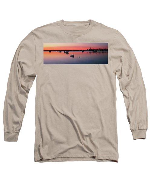 Boats In An Ocean At Sunset Long Sleeve T-Shirt