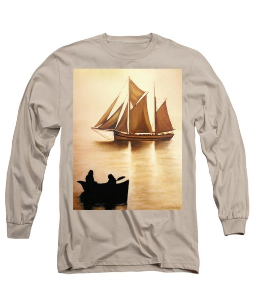 Long Sleeve T-Shirt featuring the painting Boats In Sun Light by Janice Dunbar