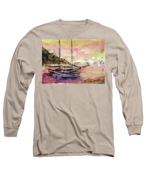 Boats In Sunset  Long Sleeve T-Shirt