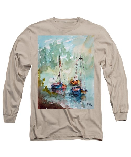 Long Sleeve T-Shirt featuring the painting Boats On Lake  by Faruk Koksal