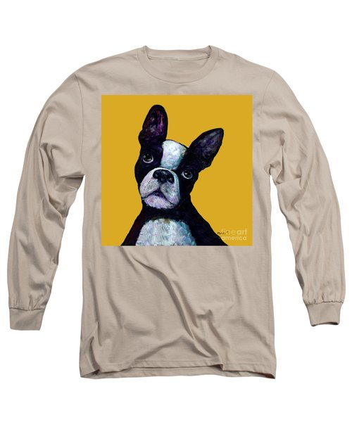 Boston Terrier On Yellow Long Sleeve T-Shirt