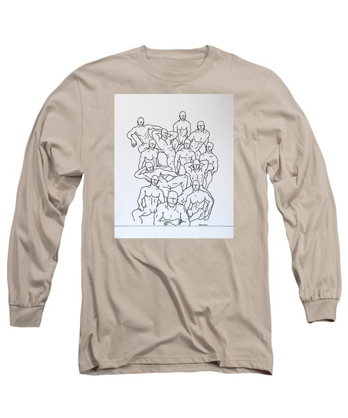 Long Sleeve T-Shirt featuring the drawing Boys At Play #4 by Thomas Gronowski