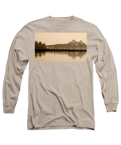 Bridge Reflection In Sepia Long Sleeve T-Shirt