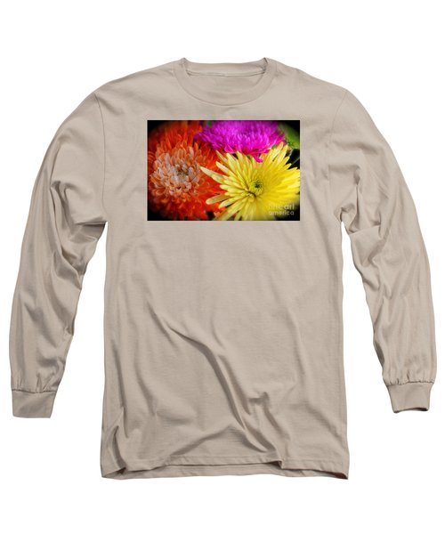 Bright Chrysanthemums Long Sleeve T-Shirt by The Art of Alice Terrill