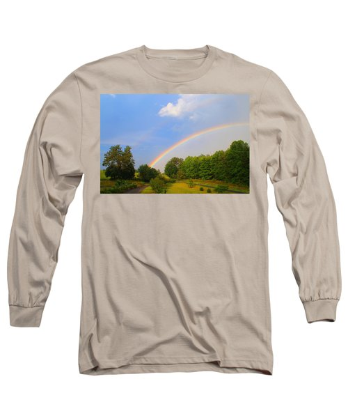 Long Sleeve T-Shirt featuring the photograph Bright Rainbow by Kathryn Meyer