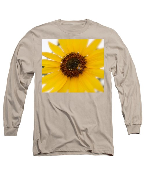 Long Sleeve T-Shirt featuring the photograph Vibrant Bright Yellow Sunflower With Honey Bee  by Jerry Cowart