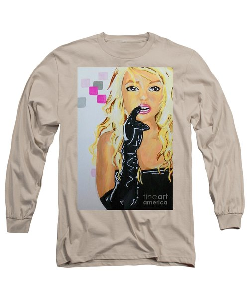 Long Sleeve T-Shirt featuring the painting Britney by Marisela Mungia