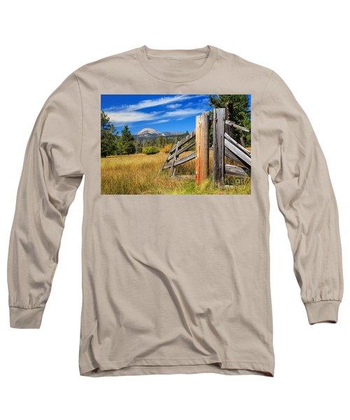 Broken Fence And Mount Lassen Long Sleeve T-Shirt