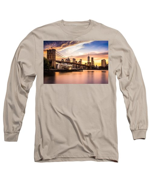Brooklyn Bridge At Sunset  Long Sleeve T-Shirt