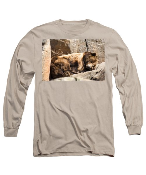 Brown Bear Asleep Again Long Sleeve T-Shirt by Chris Flees