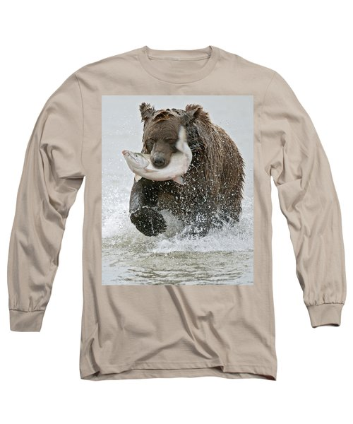 Brown Bear With Salmon Catch Long Sleeve T-Shirt