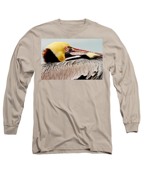 Brown Pelican Profile Long Sleeve T-Shirt