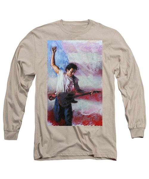 Bruce Springsteen The Boss Long Sleeve T-Shirt by Viola El