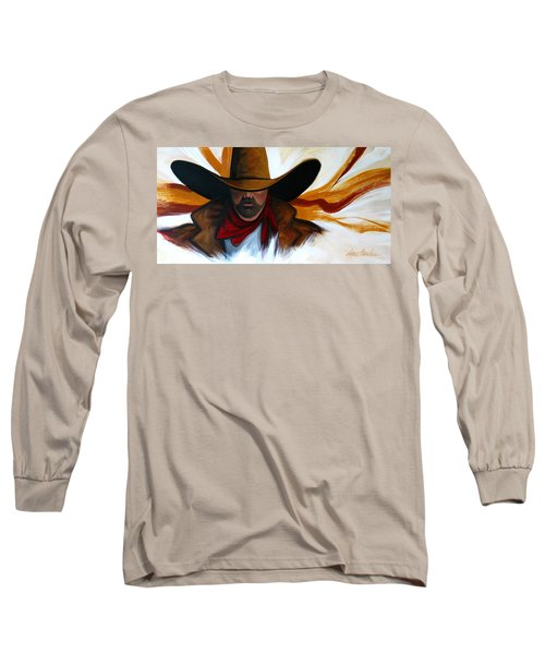 Long Sleeve T-Shirt featuring the painting Brushstroke Cowboy #4 by Lance Headlee