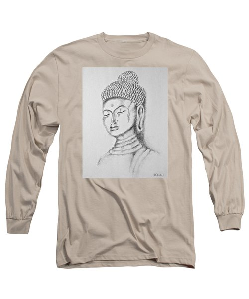 Long Sleeve T-Shirt featuring the drawing Buddha Study by Victoria Lakes