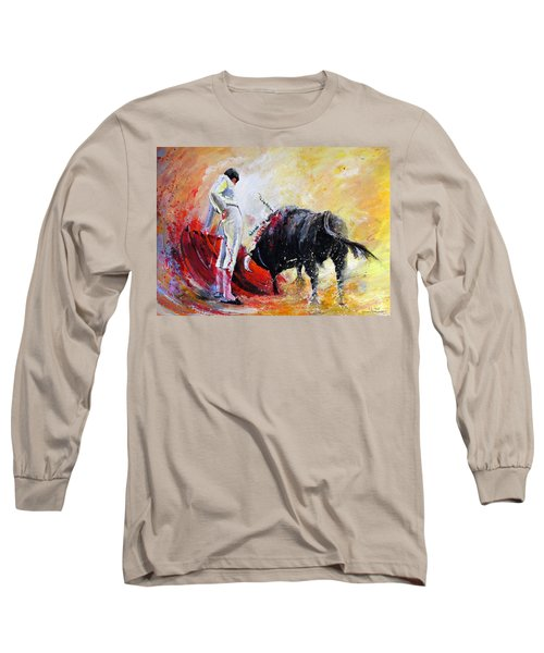 Bull In Yellow Light Long Sleeve T-Shirt by Miki De Goodaboom