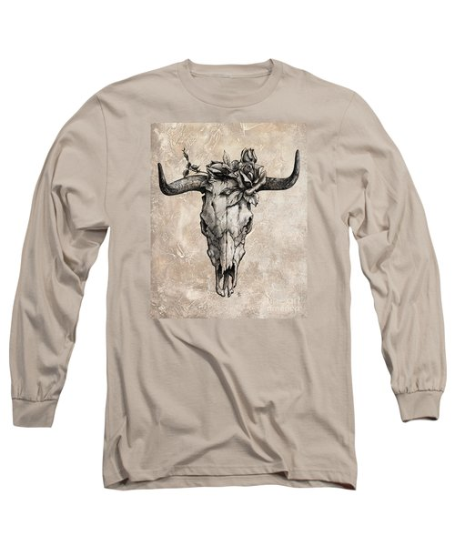 Bull Skull And Rose Long Sleeve T-Shirt by Emerico Imre Toth