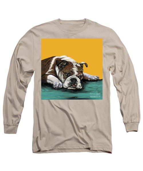 Bulldog On Yellow Long Sleeve T-Shirt