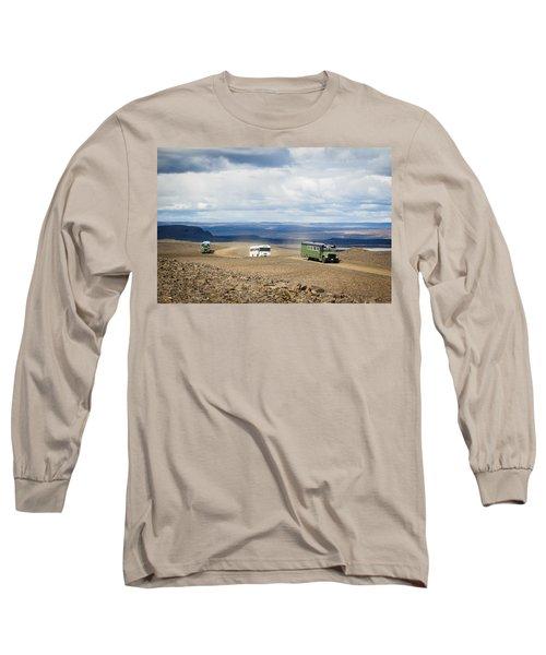 Long Sleeve T-Shirt featuring the photograph Buses Of Landmannalaugar by Peta Thames