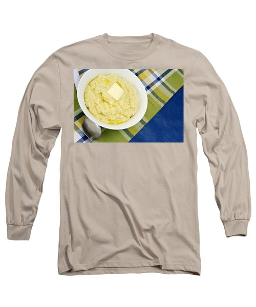 Cheese Grits With A Pat Of Butter Long Sleeve T-Shirt by Vizual Studio